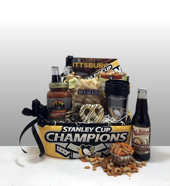 The best Pittsburgh Penguins gifts in Pittsburgh. Hockey fans love the Basket of Pittsburgh gifts. It's a hockey night is Pittsburgh is a fan favorite full of Pittsburgh favorite brands like Natrona Bottling, Appleicious, George Howe Nuts, Sarris Candy, Mediterra Baked Goods, Rally Towels, Travel Mugs and much more! Basket of Pittsburgh offers full size products - no fancy packaging tricks! Local delivery by a Basket of pittsburgh driver or shipped anywhere in the United States by UPS.