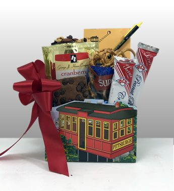 Basket of Pittsburgh signature incline box filled with favorite local treats!