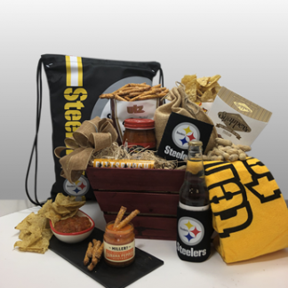 Classy, creative and fun black and gold sports gifts by Basket of Pittsburgh. Since 1984, Basket of Pittsburgh has been sending Steeler fans around the globe the best Steeler fan gifts. A winning combination of quality merchandise and the best treats and snacks by local Pittsburgh companies. Deliver locally or ship nationally via fed-ex.