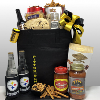The best Steelers gifts in the world. Since 1984, Basket of Pittsburgh has been sending the best black and gold gifts all over the world. Local delivery or shipped via Fed-Ex