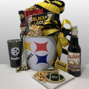 Classy, creative fun black and gold sports gifts for Steeler fans nationwide. Quality Steeler merchandise and delicious treats and snacks from Pittsburgh favorite local companies. Delivery locally or ship nationwide via Fed-Ex.