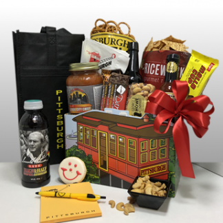 Creative, classy and fun gifts by Basket of Pittsburgh. It is filled with local favorite treats.