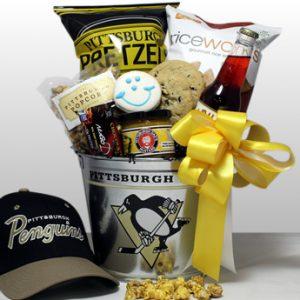 Penguins u2013 Hat Trick $85.00 · Pittsburgh Penguin Gift baskets & Steeler Penguin Pirate Gifts - Basket of Pittsburgh