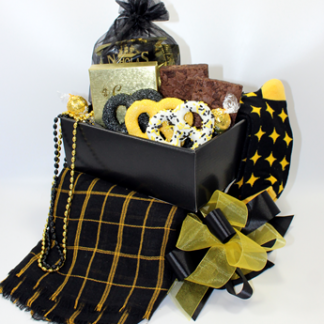 A Basket of Pittsburgh black and gold gift that visually displays the contents of the glammed up gametime gift basket. Appropriate for Steeler fans, Penguin fans, Pirate fans.