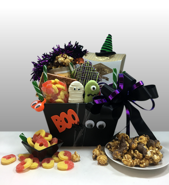 Basket of Pittsburgh has been sending the most creative gifts to locals and around the country since 1984. This cute halloween gift titled BOO BOX is the best halloween gift basket in the USA. Call today to send a special someone today. The contents are all halloween and each gift is hand-made with each order. This is cute and scary and delicious.