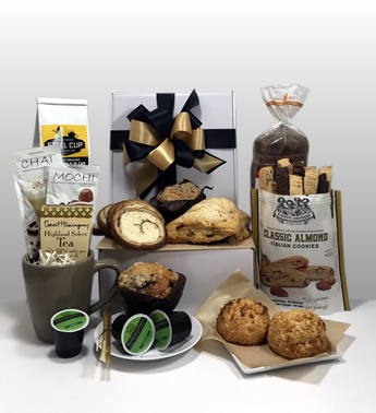 One of the best gift baskets in Pittsburgh - Brunch in the Burgh. It is packed with delicious brunch goodies from Steel City Coffee, Biscotti Bros Biscotti, Mediterra Bakehouse, Jenny Lee Bread, Five Generations Bakers, Nicholas Coffee, Tea, Coffee.