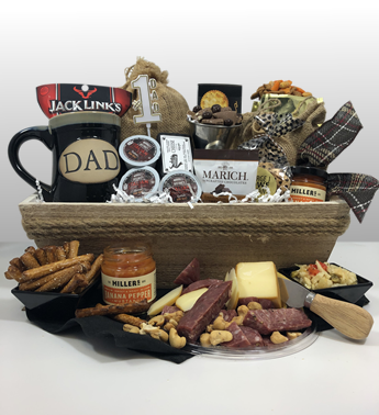 Basket of Pittsburgh has the best gift baskets in Pittsburgh for Father's Day. Give dad the very best of Pittsburgh by ordering the best gift - #1 Dad. An impressive presentation of red, white and blue gifts for that All American Man. Pittsburgh is typically black n gold but this Father's day give red, white and blue gifts.