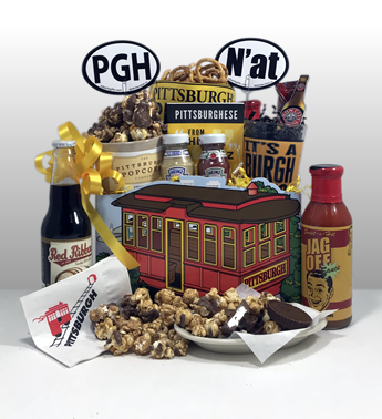 PGH n'at is the best yinzer gift in Pittsburgh. Basket of Pittsburgh has a whole line of gifts dedicated to the Pittsburgh Yinzer gifts in us all. Basket of Pittsburgh gift baskets are the most popular gifts in Pittsburgh. The Yinzer gifts are fun and creative and sent all over the country to diehard Pittsburgher's everywhere! Delivered locally by a Basket of Pittsburgh driver or shipped nationally by UPS. Limited quantities. A very popular welcome to Pittsburgh gift, convention gift or to displaced Pittsburgher afar!