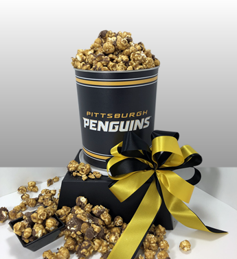 The best Pittsburgh Penguin gifts in Pittsburgh. A Pittsburgh Penguin tin filled with Pittsburgh Popcorn chocolate caramel popcorn. Large orders and corporate orders welcome. Customize your gifts.