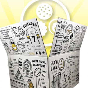 PGH-BOX is an exclusive gift design by Basket of Pittsburgh. It contains all of the best local favorites in the area. Represented by all of Pittsburgh's favorite brands from Sarris, Betsy Ann Chocolates, UTZ, Snyders, Mediterra Bakehouse, Eat n Park and many more!