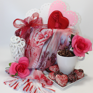 """This image offers a visual representation of the contents of the Valentine's Day gift - """"Wrapped in Warmth"""". The best gift baskets in Pittsburgh."""